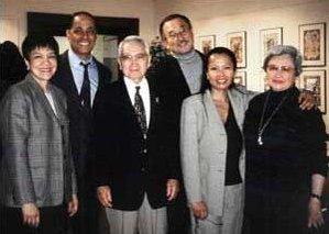 Left to right: Angela Rola, Roger Buckley, Norman Ikari, Lawson Inada, Fe Delos-Santos, Kyoko Ikari commemorate Japanese American Internment with poetry, jazz and camaraderie in the Jorgensen Gallery.