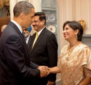 President Obama Shakes Hands with Ambassador Nirupama Rao